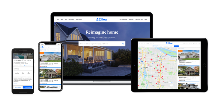 Zillow's website and mobile app shown on several different devices.