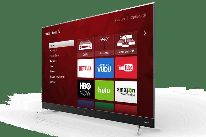 The home screen on a Roku TV.