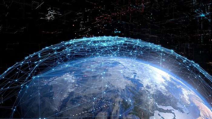 Artist's impression of a global communications network.