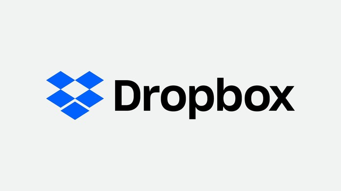 Dropbox's corporate image, including a simple blue drawing of an open box.