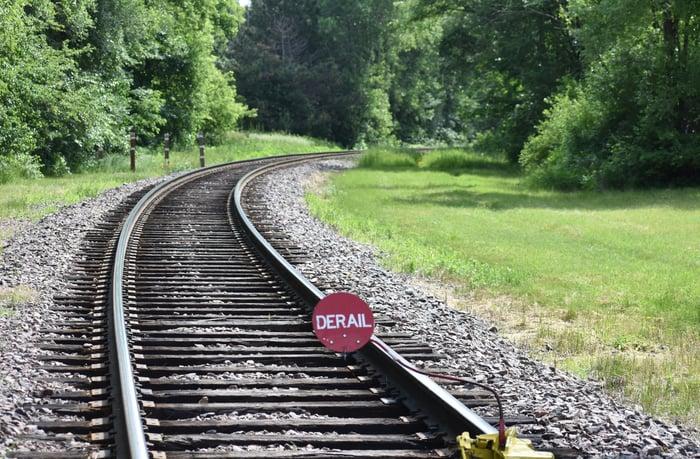 Derail sign on a rail track.