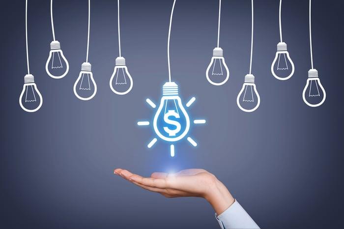 A hand, palm-up, under a light bulb with a dollar sign inside.