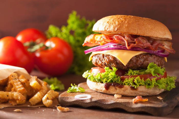 A close-up picture of a burger and fries.