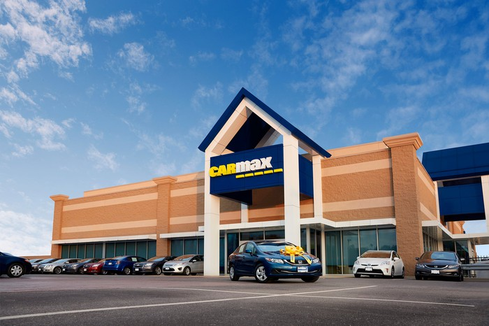The outside of a CarMax store