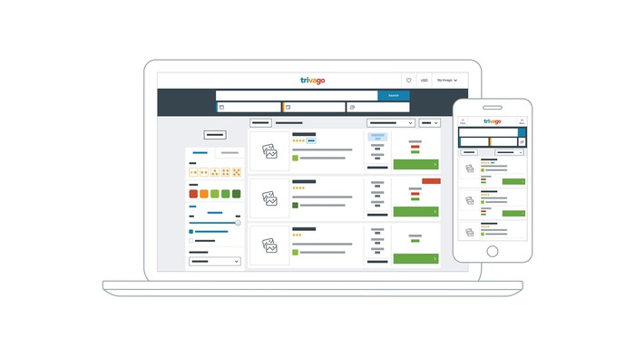 Trivago interface on a laptop and phone