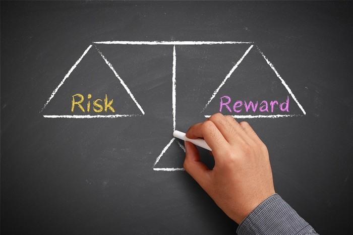 """A man drawing scales on a blackboard with """"risk"""" on one side and """"reward"""" on the other"""