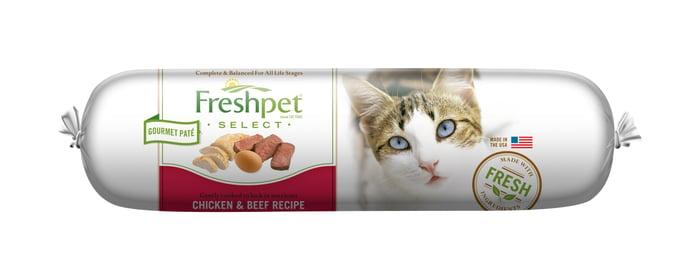A roll of Freshpet cat food