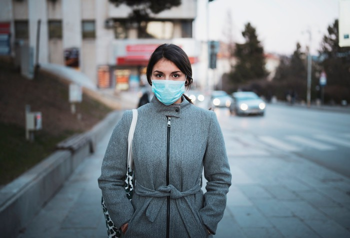 Woman wearing face masks.