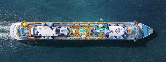 An aerial view of Royal Caribbean's ship Odyssey of the Seas.