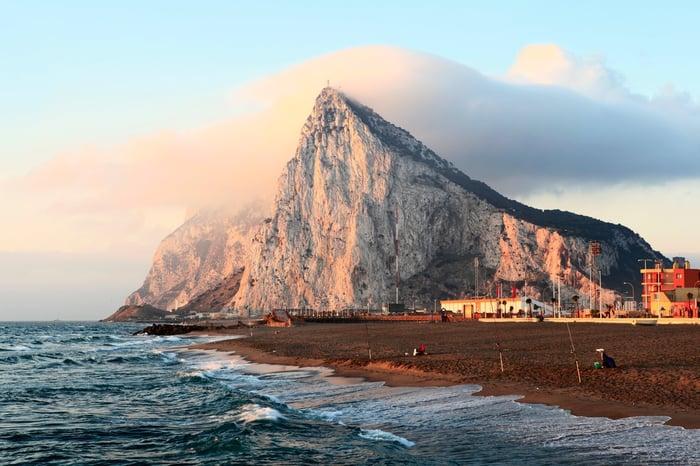 Rock of Gibraltar as seen from shoreline.