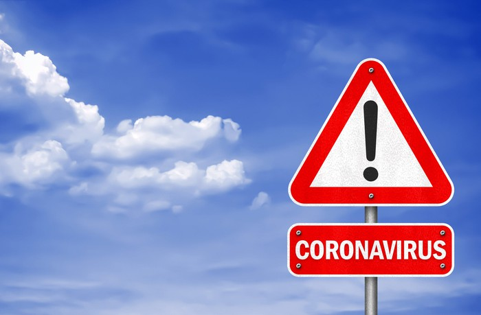 A warning sign for coronavirus set against a blue sky.