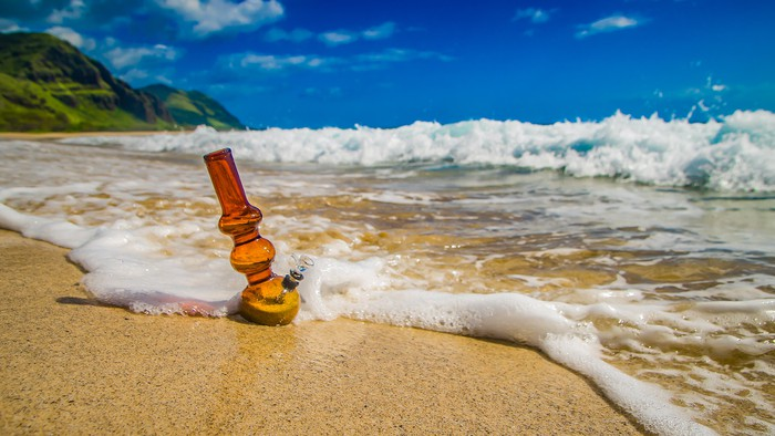 Water pipe on a beach.