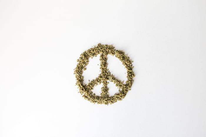 Peace sign made of marijuana.