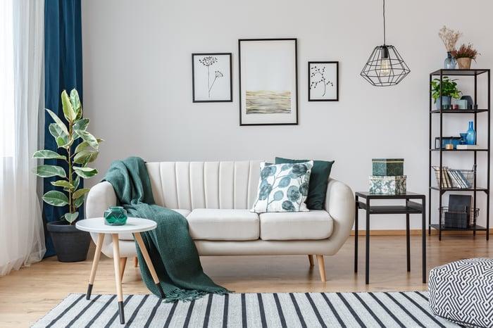 Living room decor on display.