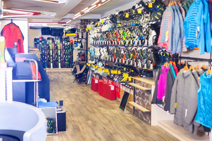 An aisle in a store displaying various merchandise.