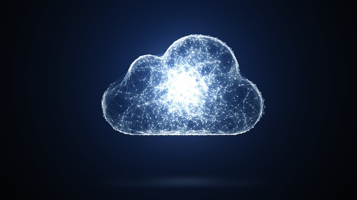 A digital cloud on a black background.