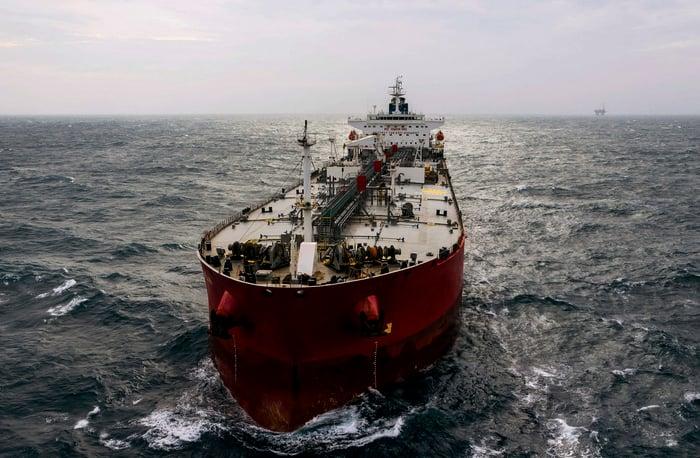 Crude oil tanker ship.