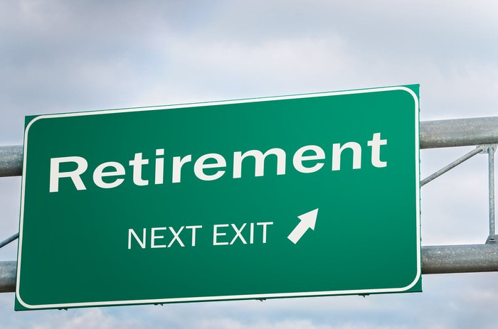 A highway sign with an arrow says retirement next exit.