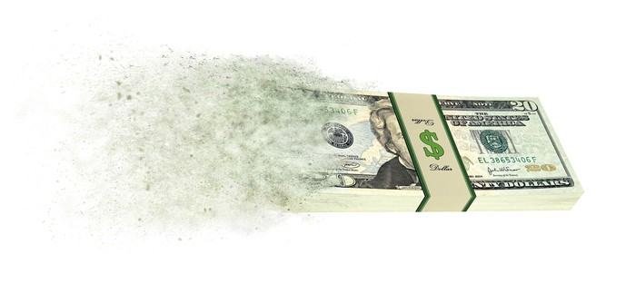 A bundle of twenty-dollar bills is shown turning into dust and blowing away.