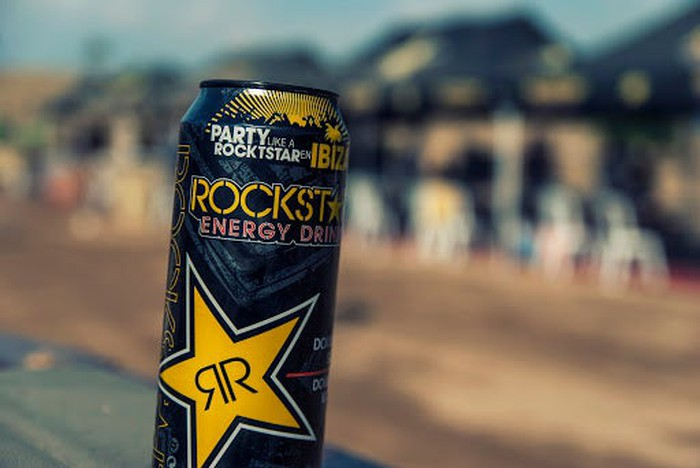 A Rockstar energy drink can.