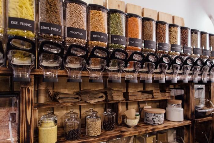Bulk item bins in a natural foods store.