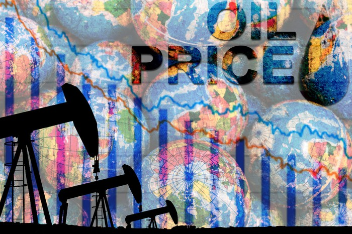 Silhouettes of oil pumps against a background of globes and the words Oil Price.