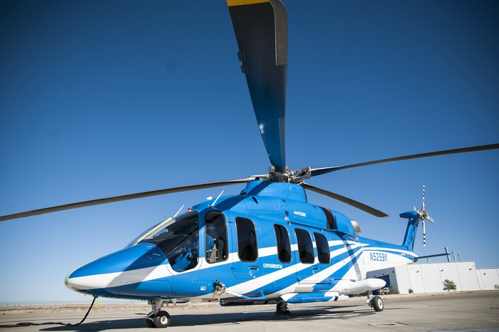 A Bell 525 helicopter parked on the tarmac.