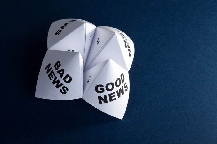 "Paper fortune teller with ""bad news"" and ""good news"" printed on the paper"