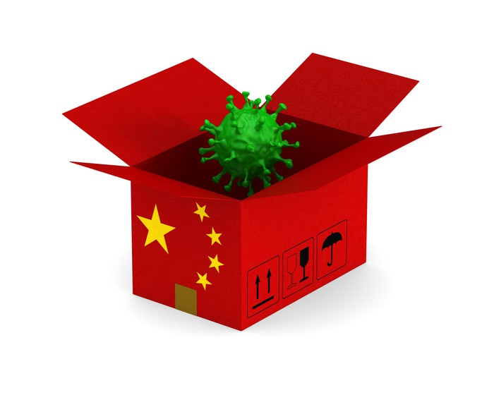 Coronavirus emerging from a box emblazoned with the Chinese flag
