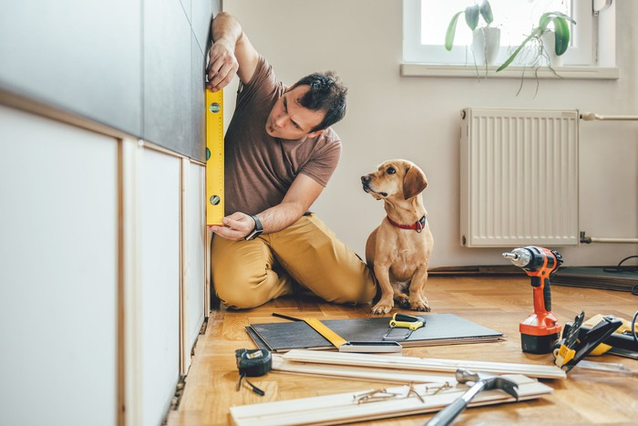 Man holding level against wall with tools and wood on the floor surrounding him while his dog watches intently.
