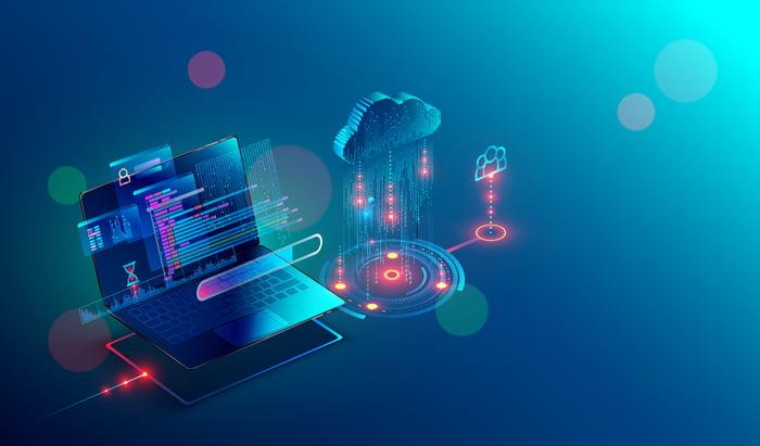 A laptop accessing cloud services.