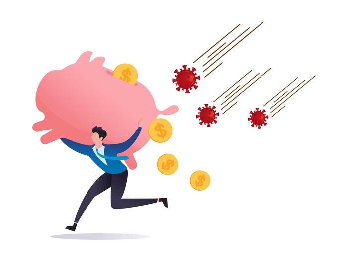 Drawing of a man running from a barrage of viruses as coins bounce out of the giant piggybank he carries on his back.