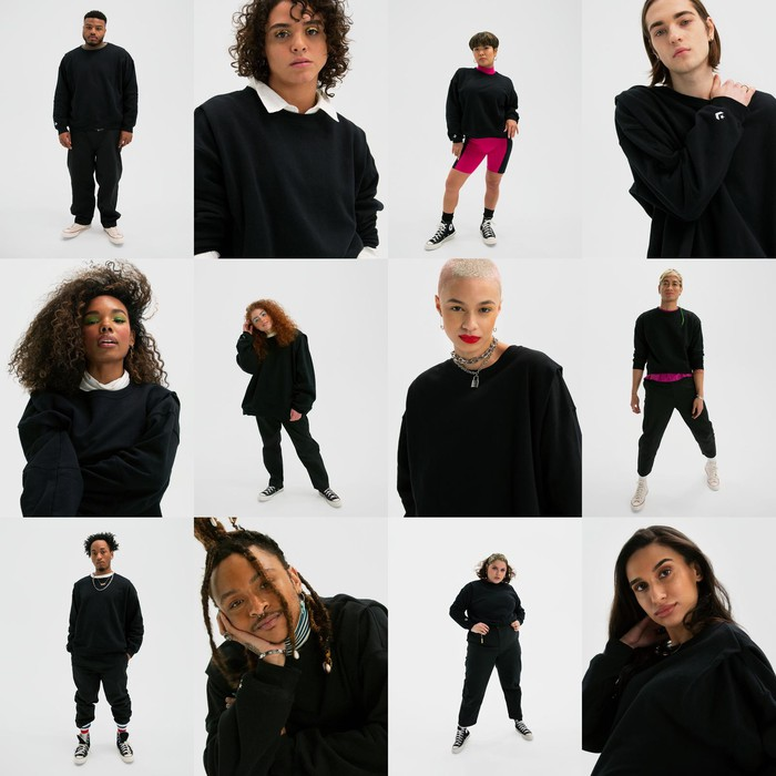 a collage of young-looking peopel wearing black sweatshirts from Nike's SHAPES line.