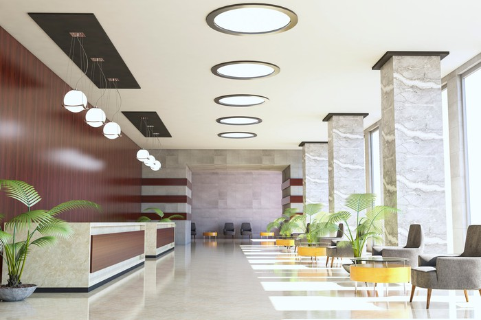 An empty hotel lobby
