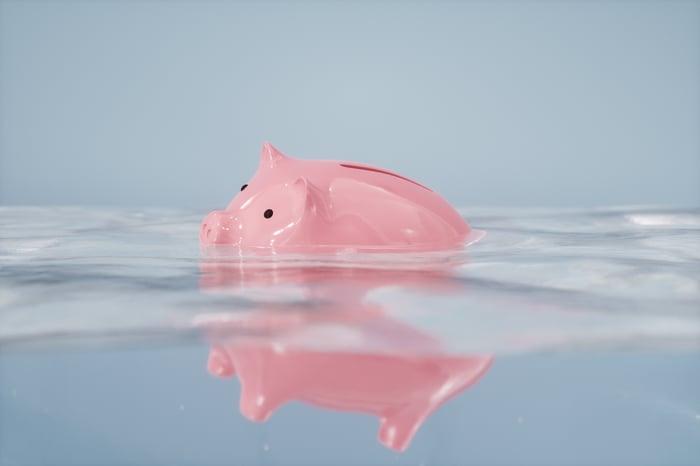 Piggy bank sinking.