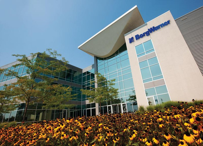 The front of BorgWarner's technical center in Warren, Michigan