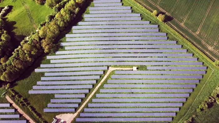 Diamond shaped solar farm in a field