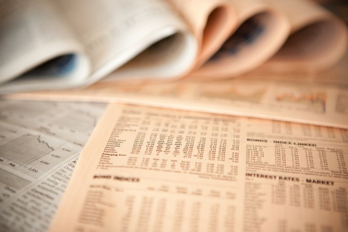 A newspaper page with stock charts on it