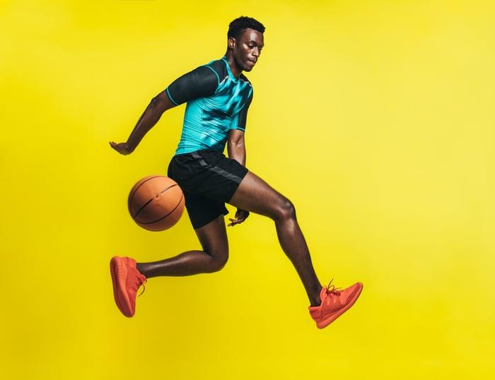 Man passing basketball