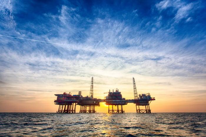 Offshore oil platform at sunset