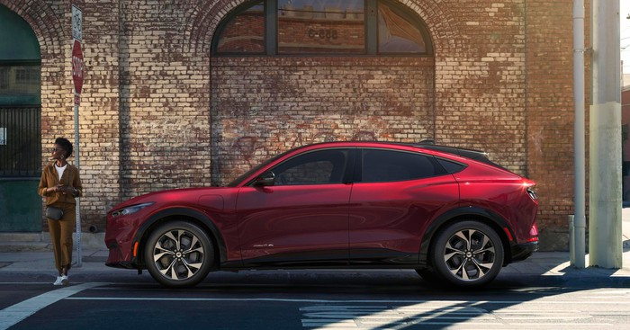 A red Ford Mustang Mach-E, a high-performance electric SUV.