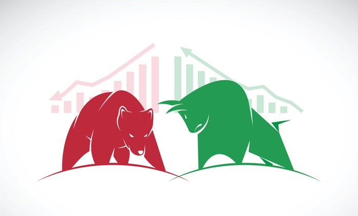 Red bear confronts green bull in front of two corresponding stock charts