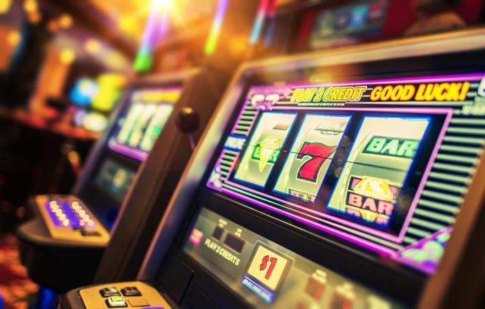 A casino slot machine.