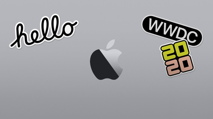 Illustration of a MacBook with stickers on it