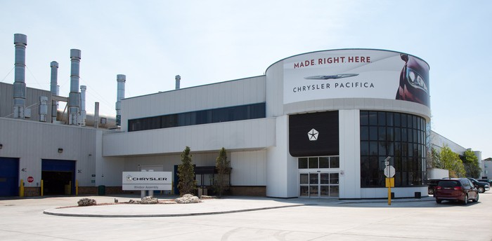 The entrance to FCA's Windsor, Ontario, assembly plant.
