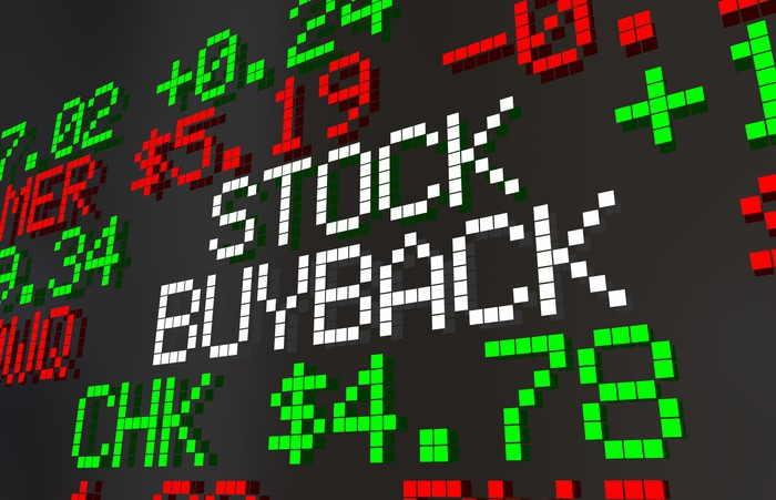 Stock board with stock buyback sign.