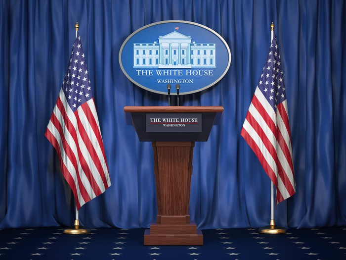 An empty White House podium in advance of a news conference.