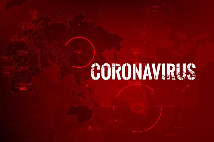 Coronavirus sign against map background.