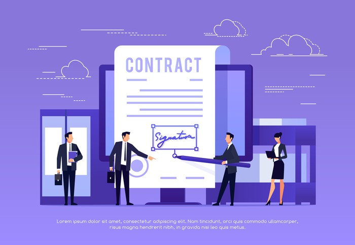 Cartoon  image of small business people electronically signing a huge contract with an electronic stylus.