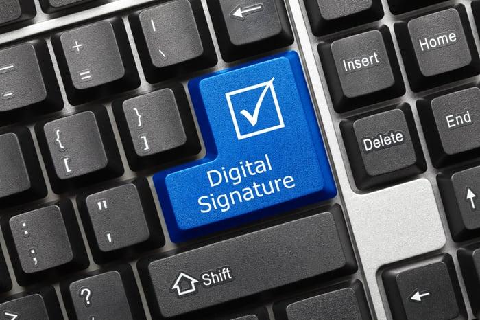 Keyboard with a digital signature key